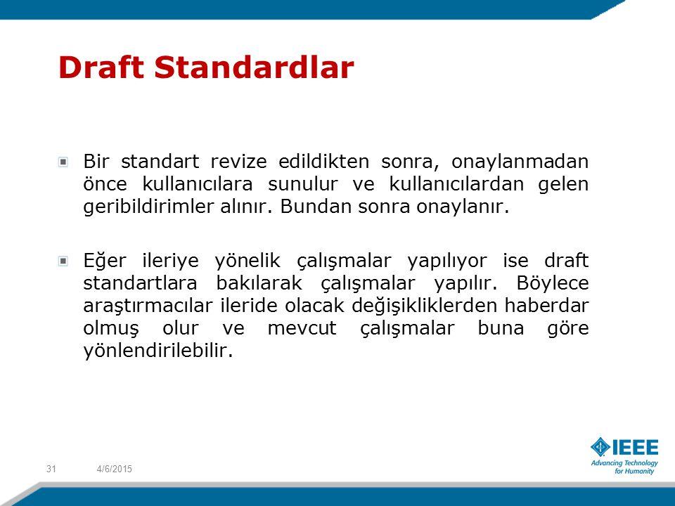 Draft Standardlar Bir standart revize edildikten sonra, onaylanmadan önce kullanıcılara sunulur ve kullanıcılardan gelen geribildirimler alınır.