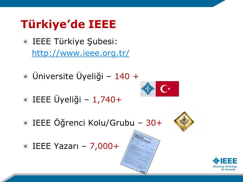 IEEE Türkiye Şubesi: http://www.ieee.org.tr/ Üniversite Üyeliği – 140 + IEEE Üyeliği – 1,740+ IEEE Öğrenci Kolu/Grubu – 30+ IEEE Yazarı – 7,000+ Türkiye'de IEEE