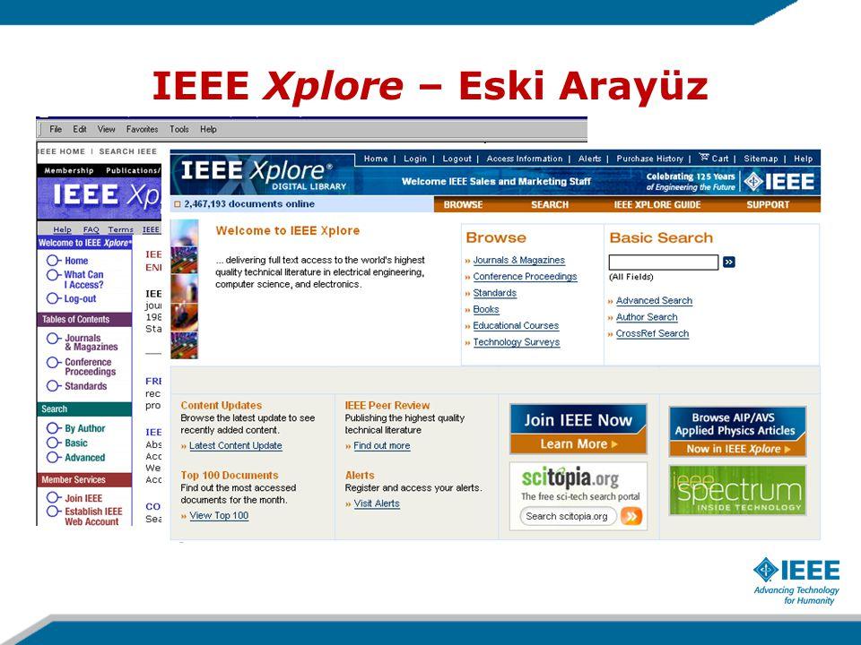 IEEE Xplore – Eski Arayüz