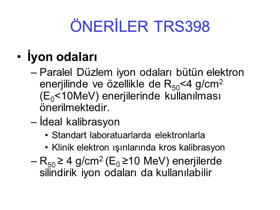 ÖNERİLER TRS398 İyon odaları –Paralel Düzlem iyon odaları bütün elektron enerjilinde ve özellikle de R 50 <4 g/cm 2 (E 0 <10MeV) enerjilerinde kullanılması önerilmektedir.