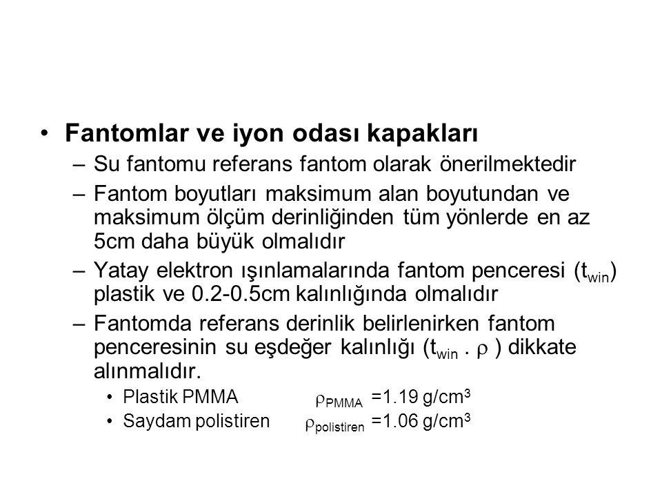 Fantomlar ve iyon odası kapakları –Su fantomu referans fantom olarak önerilmektedir –Fantom boyutları maksimum alan boyutundan ve maksimum ölçüm derinliğinden tüm yönlerde en az 5cm daha büyük olmalıdır –Yatay elektron ışınlamalarında fantom penceresi (t win ) plastik ve 0.2-0.5cm kalınlığında olmalıdır –Fantomda referans derinlik belirlenirken fantom penceresinin su eşdeğer kalınlığı (t win.