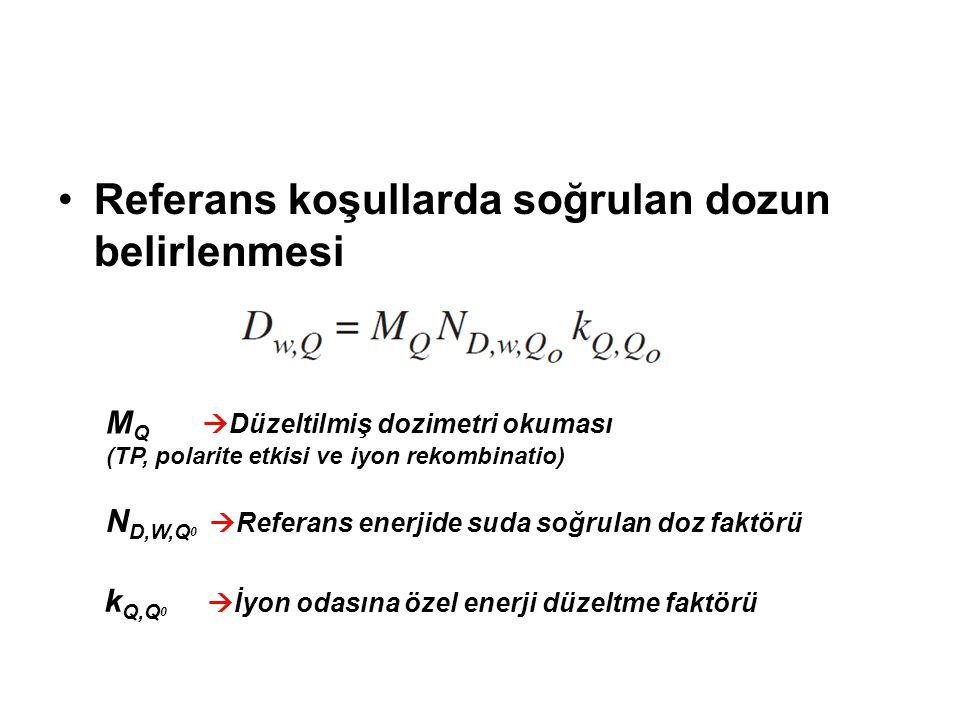 Referans koşullarda soğrulan dozun belirlenmesi M Q  Düzeltilmiş dozimetri okuması (TP, polarite etkisi ve iyon rekombinatio) N D,W,Q 0  Referans enerjide suda soğrulan doz faktörü k Q,Q 0  İyon odasına özel enerji düzeltme faktörü