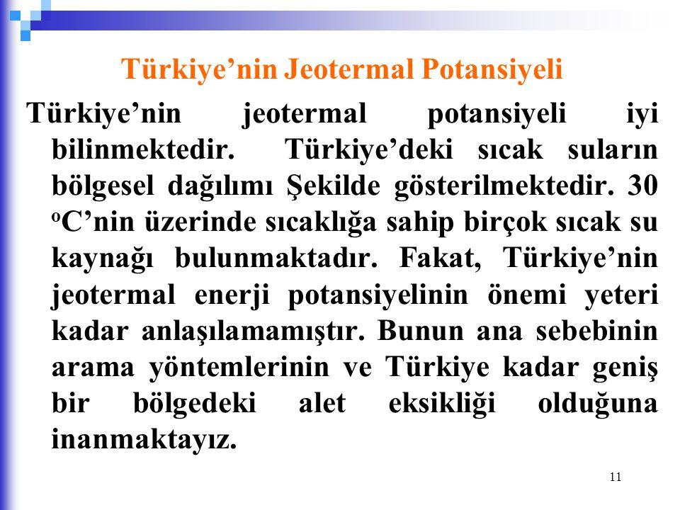 11 Türkiye'nin Jeotermal Potansiyeli Türkiye'nin jeotermal potansiyeli iyi bilinmektedir.