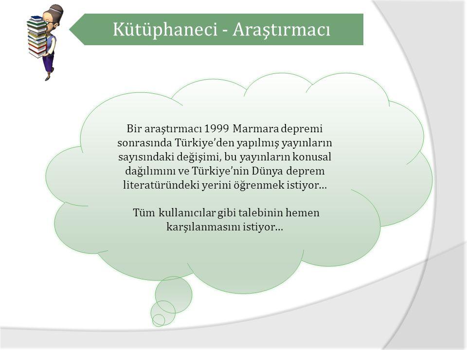 Kütüphaneci - Araştırmacı Bir araştırmacı 1999 Marmara depremi sonrasında Türkiye'den yapılmış yayınların sayısındaki değişimi, bu yayınların konusal dağılımını ve Türkiye'nin Dünya deprem literatüründeki yerini öğrenmek istiyor… Tüm kullanıcılar gibi talebinin hemen karşılanmasını istiyor…
