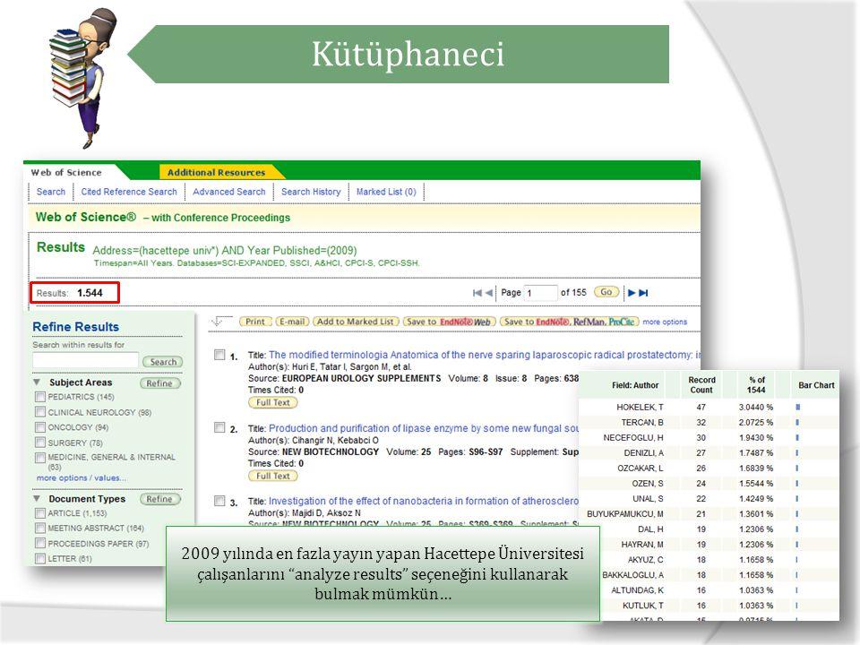 Kütüphaneci 2009 yılında en fazla yayın yapan Hacettepe Üniversitesi çalışanlarını analyze results seçeneğini kullanarak bulmak mümkün…