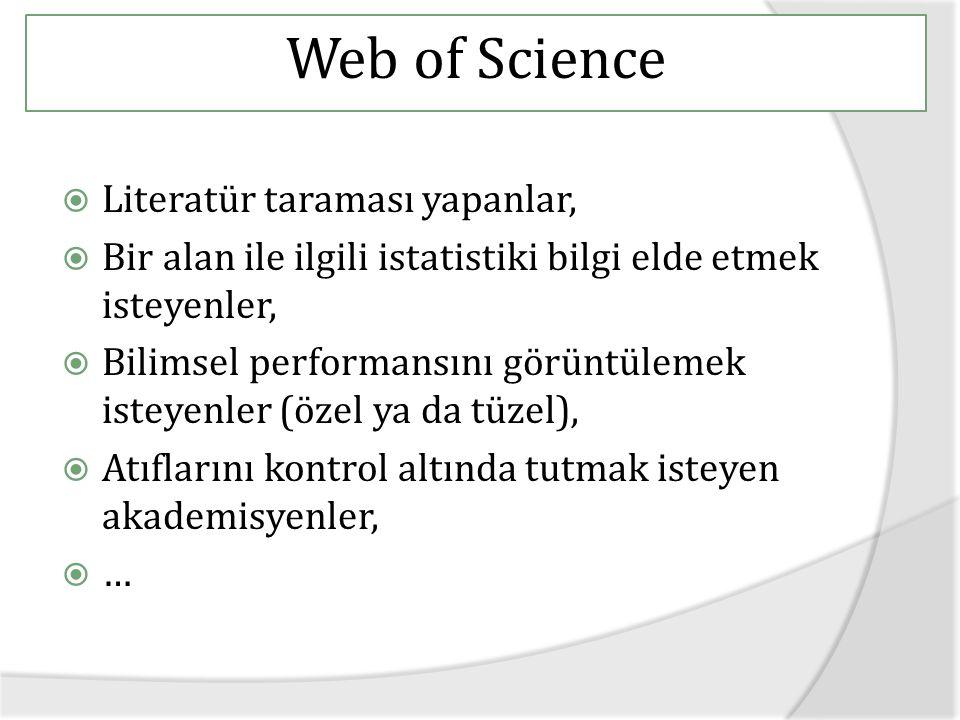 Web of Science  Literatür taraması yapanlar,  Bir alan ile ilgili istatistiki bilgi elde etmek isteyenler,  Bilimsel performansını görüntülemek isteyenler (özel ya da tüzel),  Atıflarını kontrol altında tutmak isteyen akademisyenler,  …