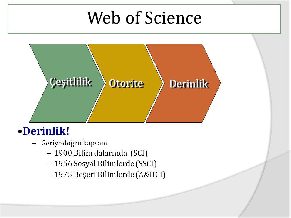 Web of Science Derinlik.