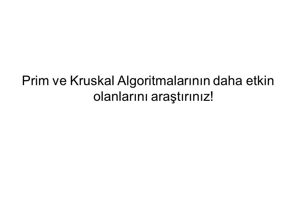 Prim ve Kruskal Algoritmalarının daha etkin olanlarını araştırınız!