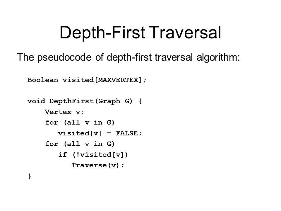 Depth-First Traversal The pseudocode of depth-first traversal algorithm: Boolean visited[MAXVERTEX]; void DepthFirst(Graph G) { Vertex v; for (all v in G) visited[v] = FALSE; for (all v in G) if (!visited[v]) Traverse(v); }