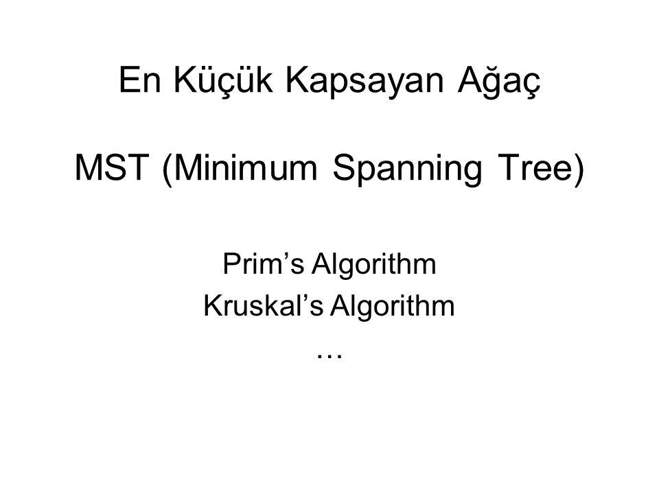 En Küçük Kapsayan Ağaç MST (Minimum Spanning Tree) Prim's Algorithm Kruskal's Algorithm …