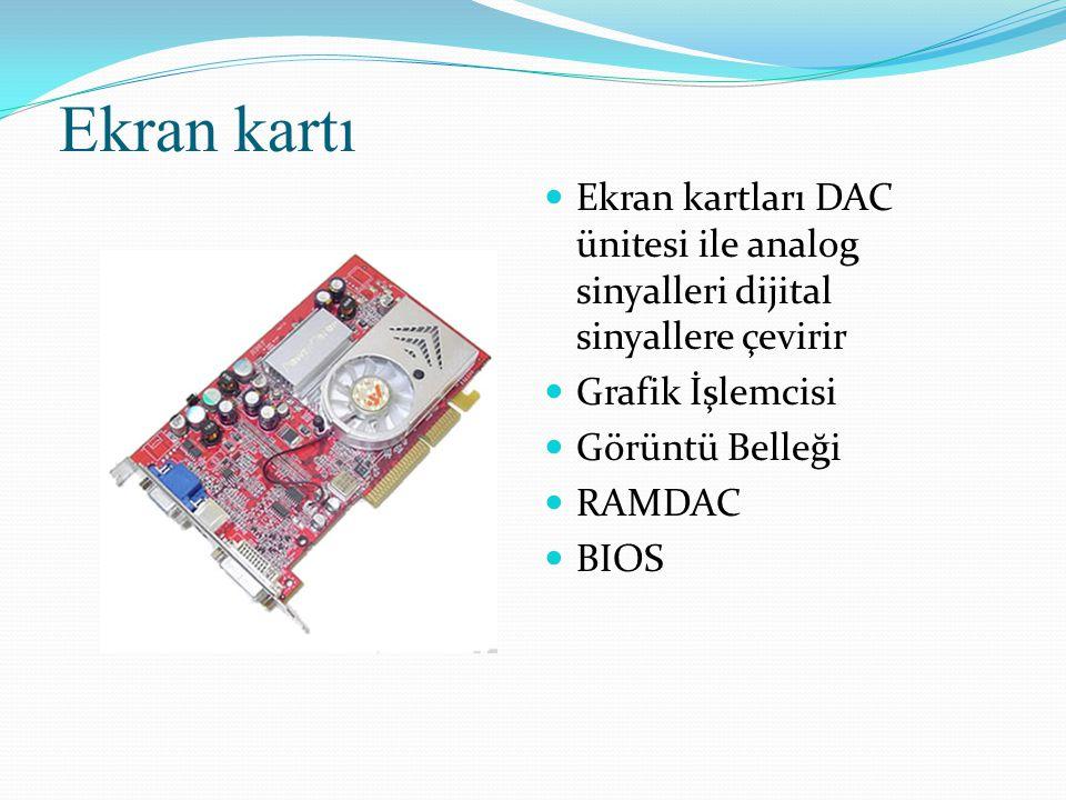 Ekran kartı Ekran kartları DAC ünitesi ile analog sinyalleri dijital sinyallere çevirir Grafik İşlemcisi Görüntü Belleği RAMDAC BIOS