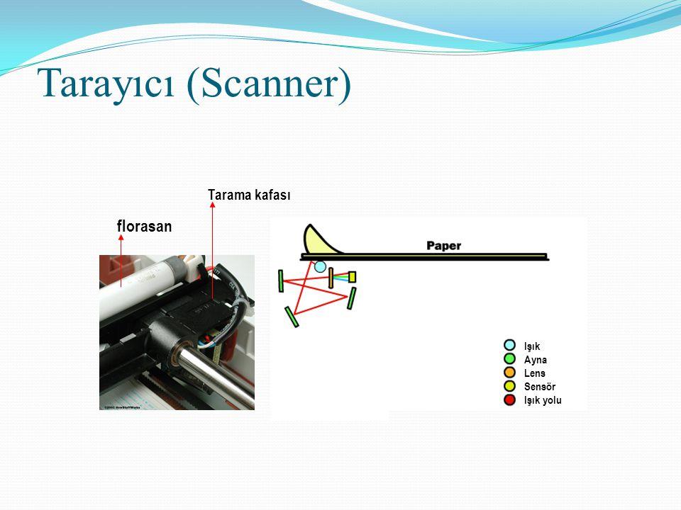 Tarayıcı (Scanner) Işık Ayna Lens Sensör Işık yolu florasan Tarama kafası