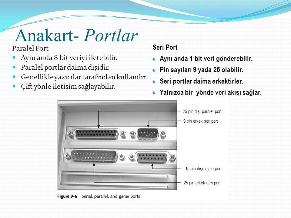 Anakart- Portlar Paralel Port Aynı anda 8 bit veriyi iletebilir. Paralel portlar daima dişidir. Genellikle yazıcılar tarafından kullanılır. Çift yönle