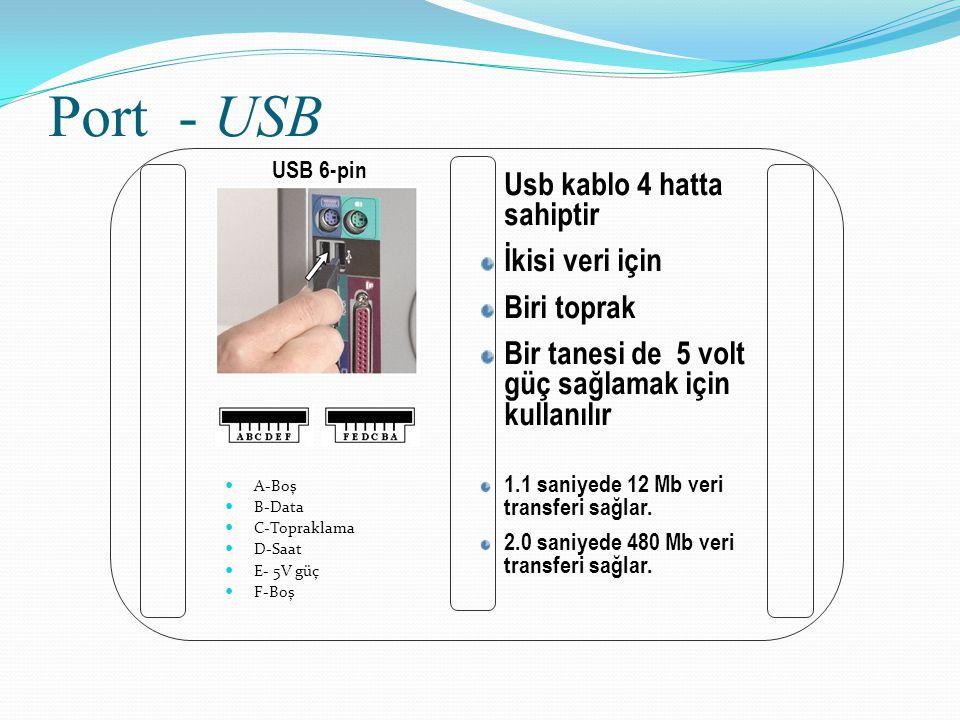 Port - USB A-Boş B-Data C-Topraklama D-Saat E- 5V güç F-Boş USB 6-pin Usb kablo 4 hatta sahiptir İkisi veri için Biri toprak Bir tanesi de 5 volt güç
