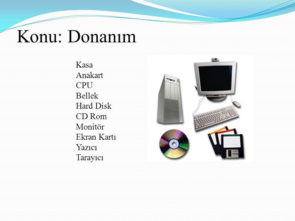 Konu: Donanım Kasa Anakart CPU Bellek Hard Disk CD Rom Monitör Ekran Kartı Yazıcı Tarayıcı