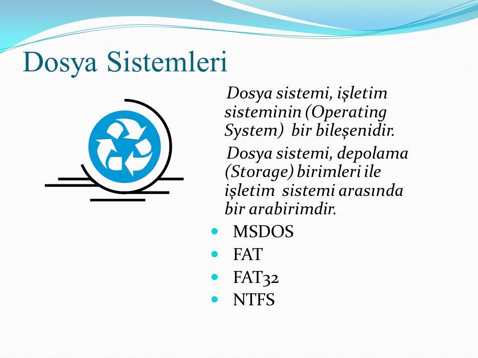 Dosya Sistemleri Dosya sistemi, işletim sisteminin (Operating System) bir bileşenidir. Dosya sistemi, depolama (Storage) birimleri ile işletim sistemi