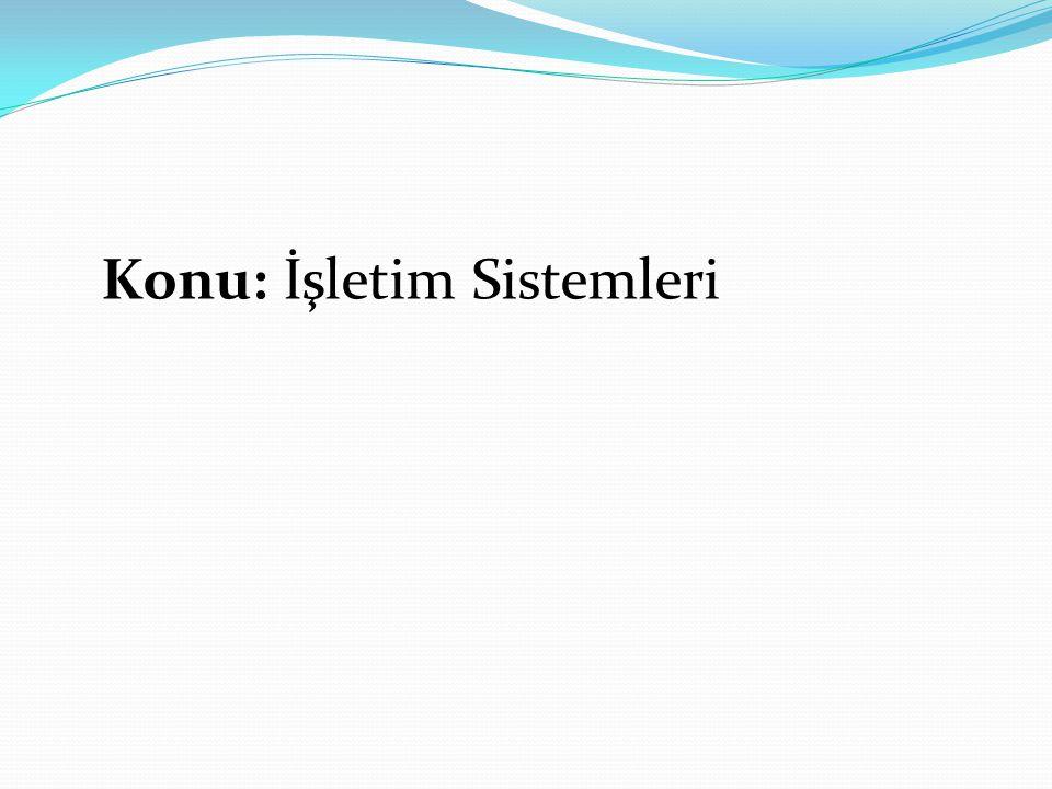 Konu: İşletim Sistemleri