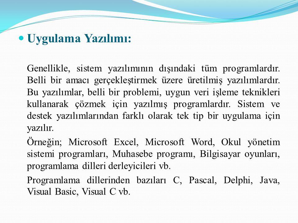 Uygulama Yazılımı: Genellikle, sistem yazılımının dışındaki tüm programlardır. Belli bir amacı gerçekleştirmek üzere üretilmiş yazılımlardır. Bu yazıl