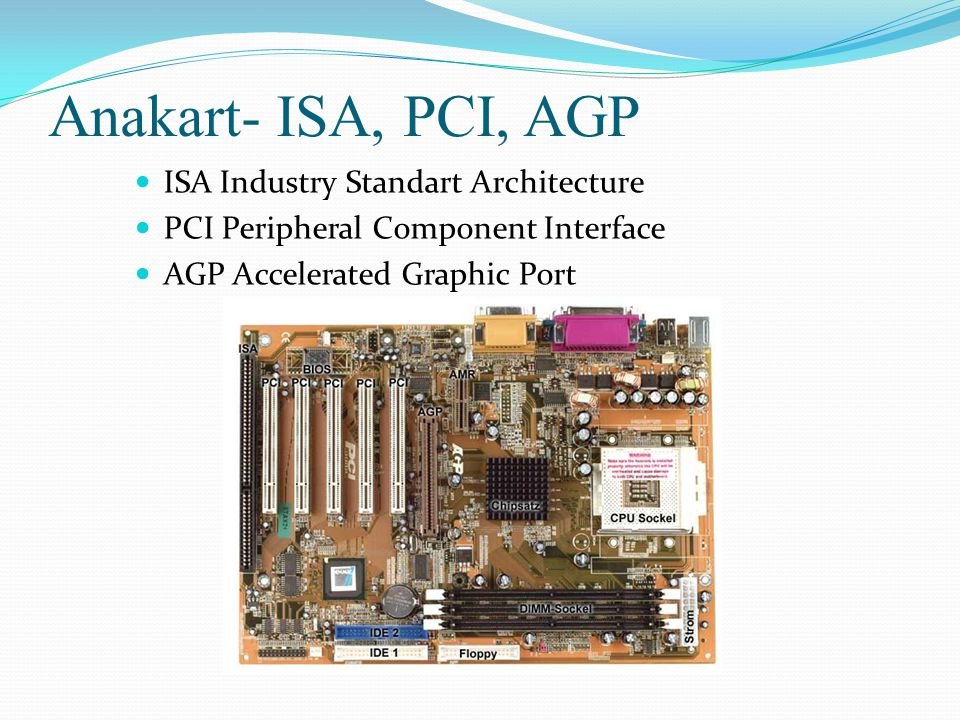 Anakart- ISA, PCI, AGP ISA Industry Standart Architecture PCI Peripheral Component Interface AGP Accelerated Graphic Port