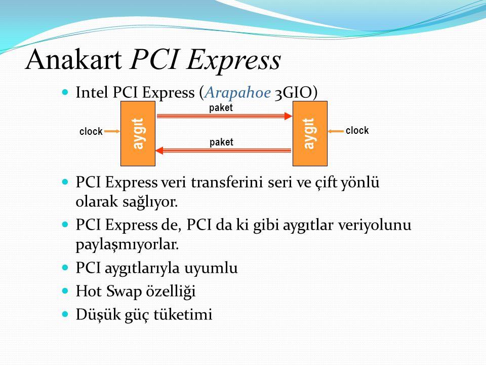 Anakart PCI Express Intel PCI Express (Arapahoe 3GIO) PCI Express veri transferini seri ve çift yönlü olarak sağlıyor. PCI Express de, PCI da ki gibi