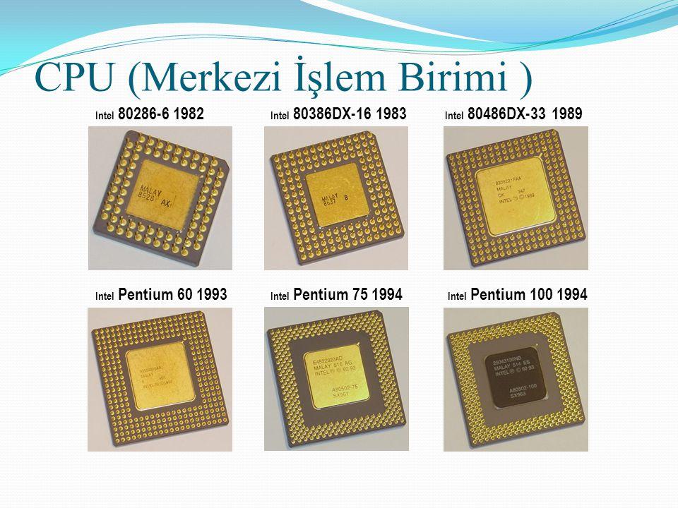 Intel 80286-6 1982 CPU (Merkezi İşlem Birimi ) Intel 80386DX-16 1983 Intel 80486DX-33 1989 Intel Pentium 60 1993 Intel Pentium 75 1994 Intel Pentium 1