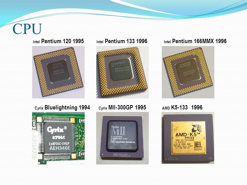 CPU Intel Pentium 120 1995 Intel Pentium 133 1996 Intel Pentium 166MMX 1996 Cyrix Bluelightning 1994 Cyrix MII-300GP 1995 AMD K5-133 1996