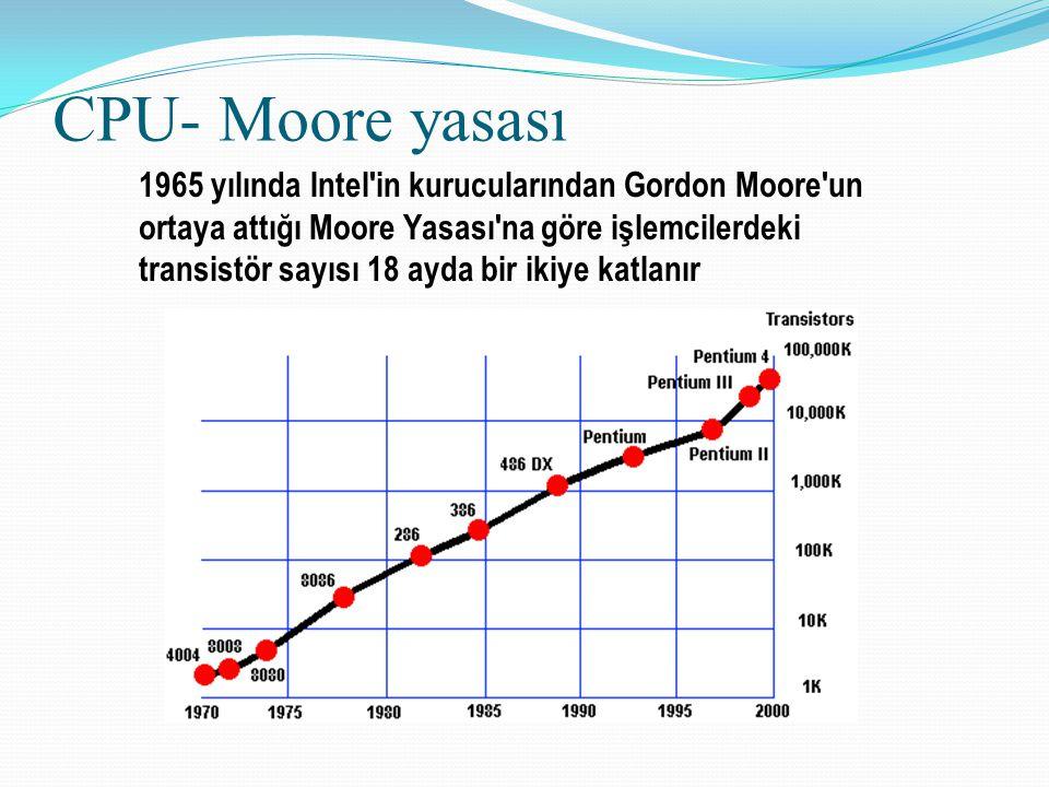 CPU- Moore yasası 1965 yılında Intel'in kurucularından Gordon Moore'un ortaya attığı Moore Yasası'na göre işlemcilerdeki transistör sayısı 18 ayda bir