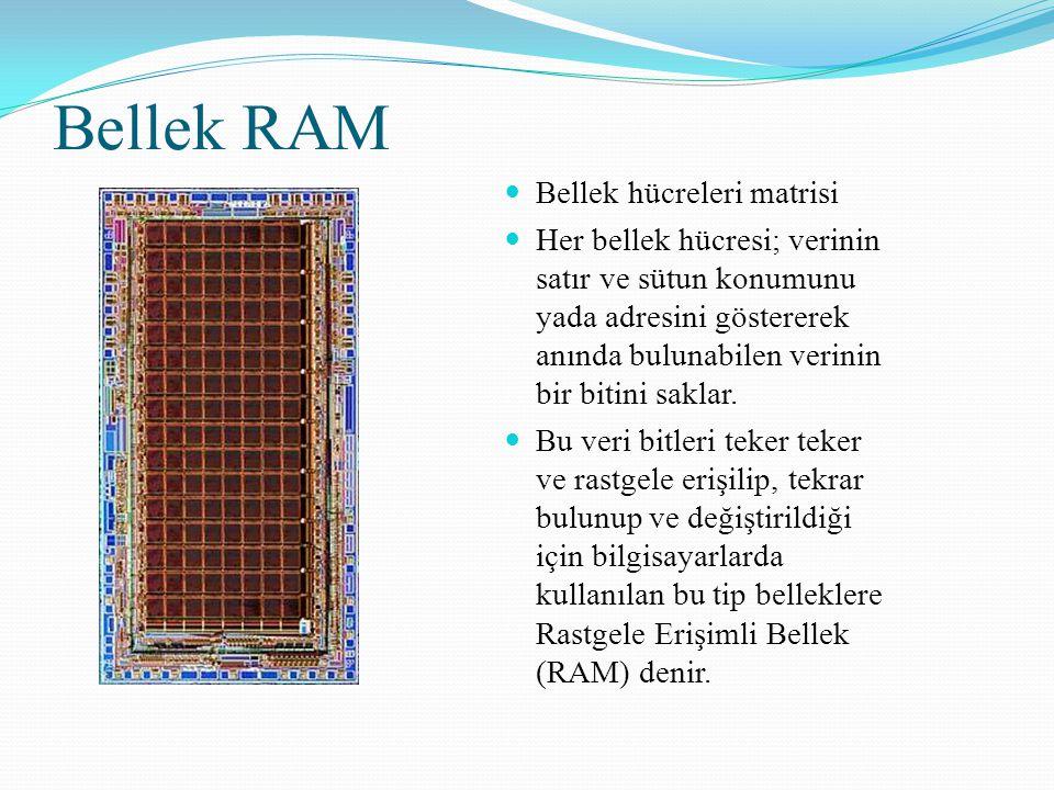 Bellek RAM Bellek hücreleri matrisi Her bellek hücresi; verinin satır ve sütun konumunu yada adresini göstererek anında bulunabilen verinin bir bitini