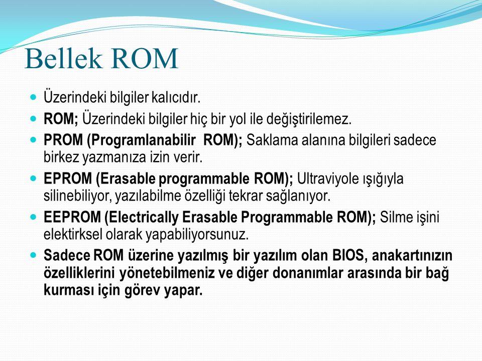 Bellek ROM Üzerindeki bilgiler kalıcıdır. ROM; Üzerindeki bilgiler hiç bir yol ile değiştirilemez. PROM (Programlanabilir ROM); Saklama alanına bilgil