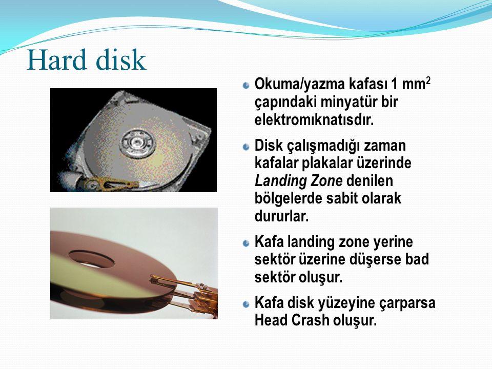 Hard disk Okuma/yazma kafası 1 mm 2 çapındaki minyatür bir elektromıknatısdır. Disk çalışmadığı zaman kafalar plakalar üzerinde Landing Zone denilen b