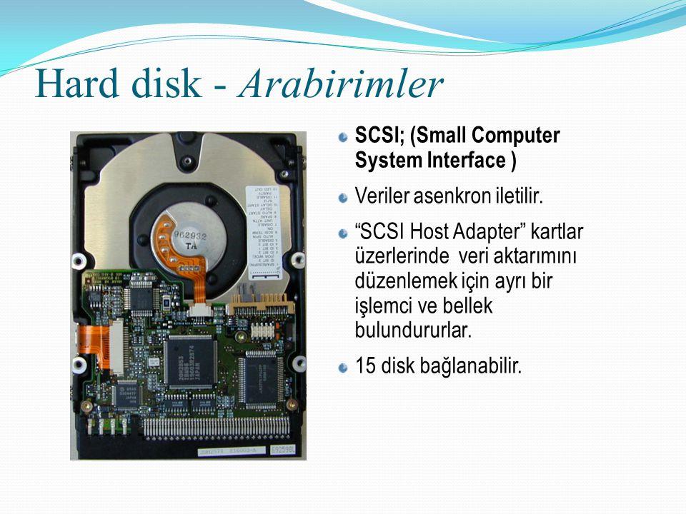 """Hard disk - Arabirimler SCSI; (Small Computer System Interface ) Veriler asenkron iletilir. """"SCSI Host Adapter"""" kartlar üzerlerinde veri aktarımını dü"""