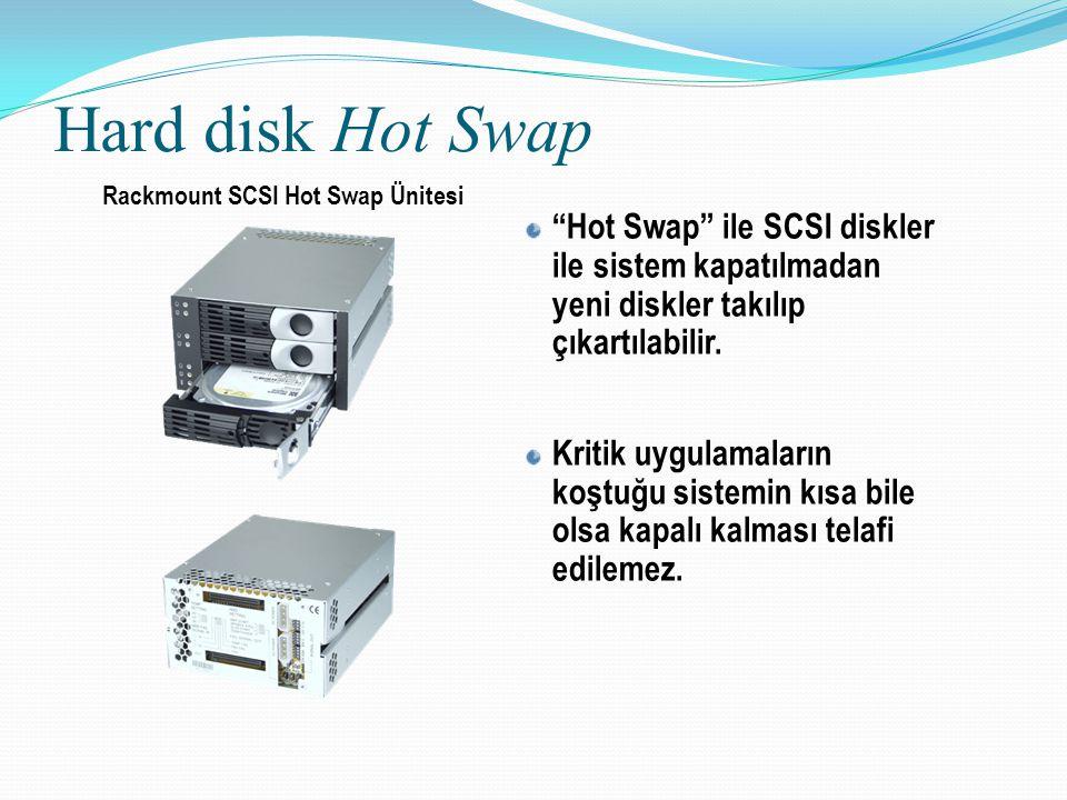 """Hard disk Hot Swap """"Hot Swap"""" ile SCSI diskler ile sistem kapatılmadan yeni diskler takılıp çıkartılabilir. Kritik uygulamaların koştuğu sistemin kısa"""