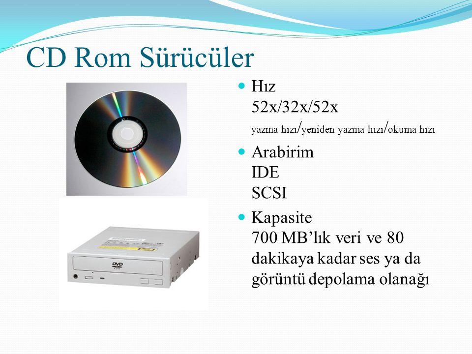 CD Rom Sürücüler Hız 52x/32x/52x yazma hızı / yeniden yazma hızı / okuma hızı Arabirim IDE SCSI Kapasite 700 MB'lık veri ve 80 dakikaya kadar ses ya d