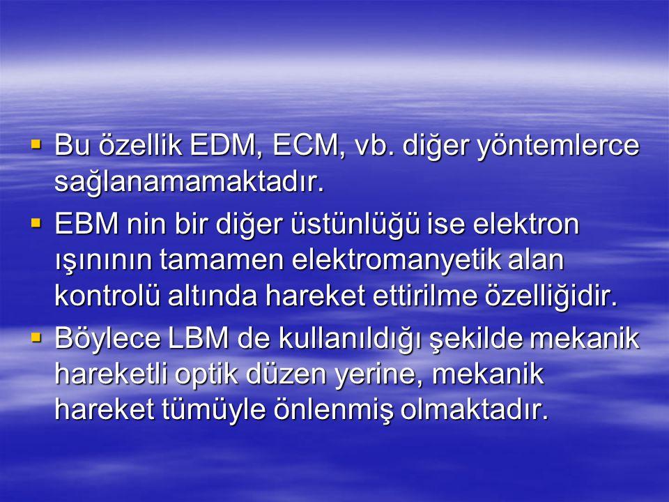  Bu özellik EDM, ECM, vb. diğer yöntemlerce sağlanamamaktadır.  EBM nin bir diğer üstünlüğü ise elektron ışınının tamamen elektromanyetik alan kontr