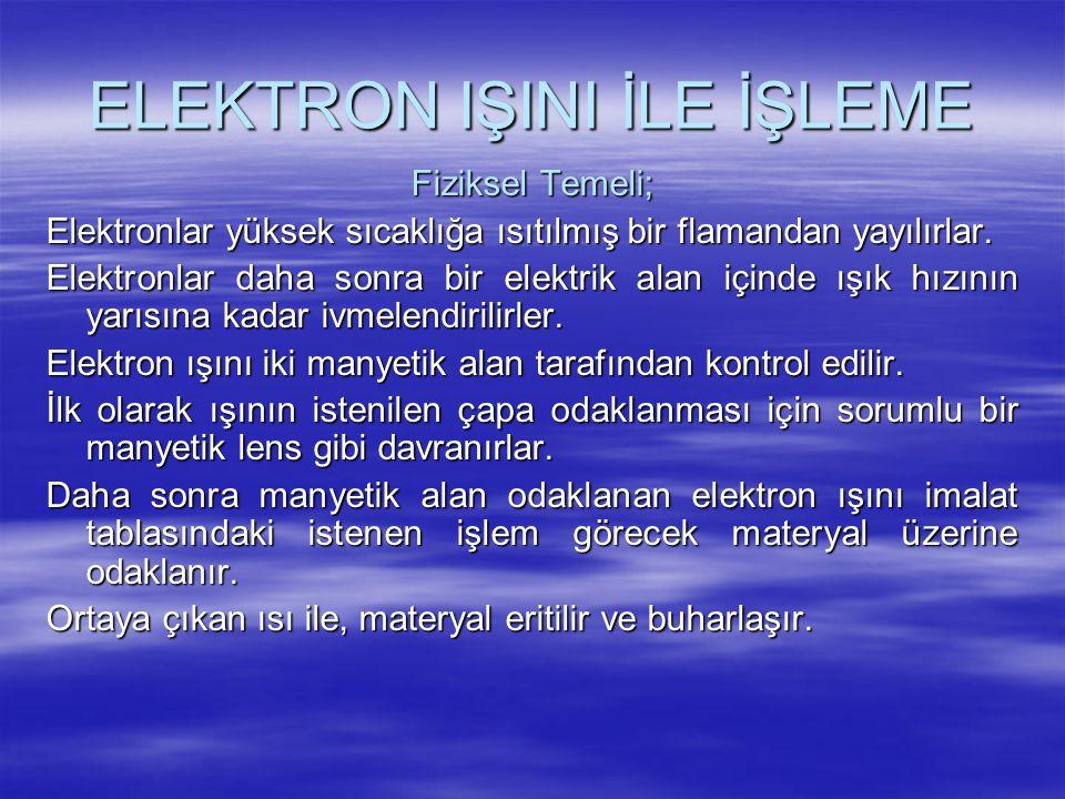 ELEKTRON IŞINI İLE İŞLEME Fiziksel Temeli; Elektronlar yüksek sıcaklığa ısıtılmış bir flamandan yayılırlar. Elektronlar daha sonra bir elektrik alan i