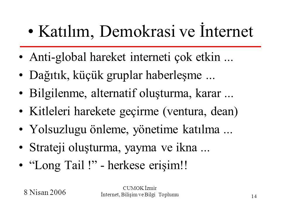 8 Nisan 2006 CUMOK İzmir İnternet, Bilişim ve Bilgi Toplumu 14 Katılım, Demokrasi ve İnternet Anti-global hareket interneti çok etkin... Dağıtık, küçü
