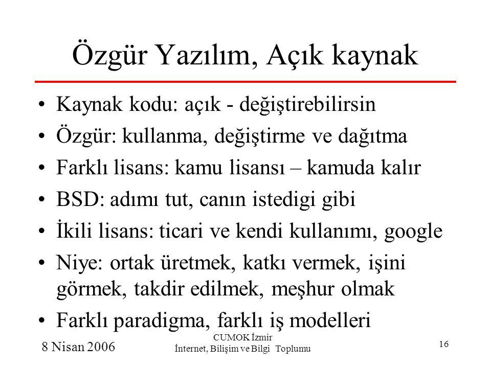 8 Nisan 2006 CUMOK İzmir İnternet, Bilişim ve Bilgi Toplumu 16 Özgür Yazılım, Açık kaynak Kaynak kodu: açık - değiştirebilirsin Özgür: kullanma, değiş