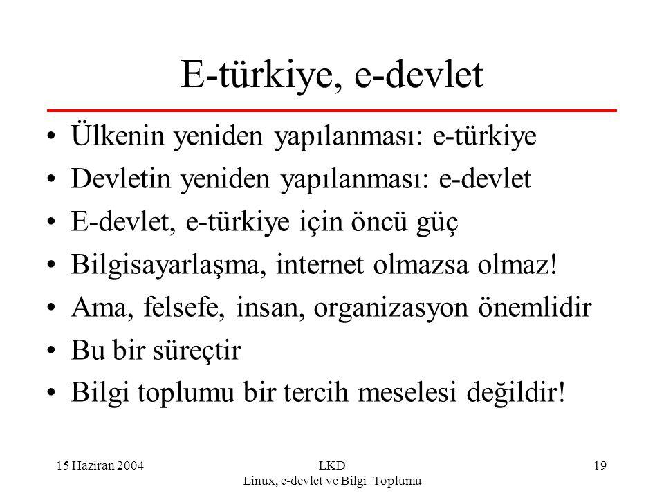 15 Haziran 2004LKD Linux, e-devlet ve Bilgi Toplumu 19 E-türkiye, e-devlet Ülkenin yeniden yapılanması: e-türkiye Devletin yeniden yapılanması: e-devl