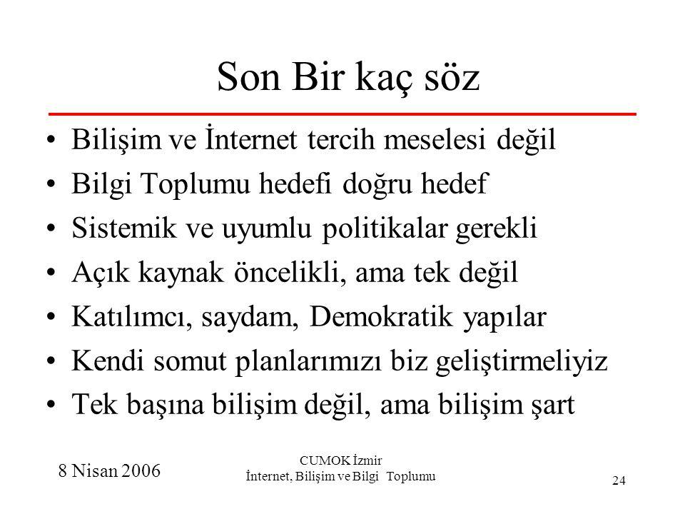 8 Nisan 2006 CUMOK İzmir İnternet, Bilişim ve Bilgi Toplumu 24 Son Bir kaç söz Bilişim ve İnternet tercih meselesi değil Bilgi Toplumu hedefi doğru he