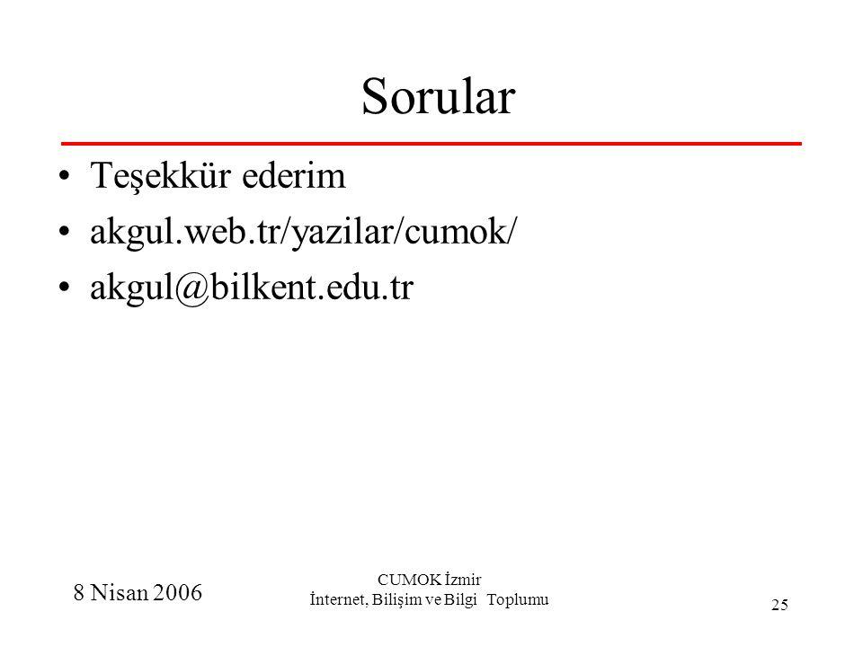 8 Nisan 2006 CUMOK İzmir İnternet, Bilişim ve Bilgi Toplumu 25 Sorular Teşekkür ederim akgul.web.tr/yazilar/cumok/ akgul@bilkent.edu.tr
