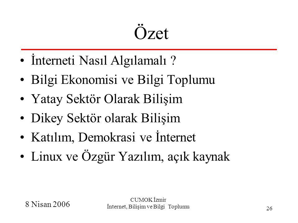 8 Nisan 2006 CUMOK İzmir İnternet, Bilişim ve Bilgi Toplumu 26 Özet İnterneti Nasıl Algılamalı ? Bilgi Ekonomisi ve Bilgi Toplumu Yatay Sektör Olarak