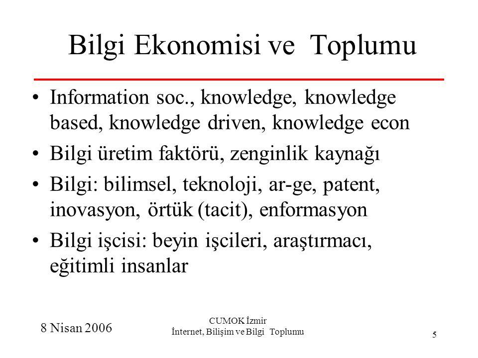8 Nisan 2006 CUMOK İzmir İnternet, Bilişim ve Bilgi Toplumu 16 Özgür Yazılım, Açık kaynak Kaynak kodu: açık - değiştirebilirsin Özgür: kullanma, değiştirme ve dağıtma Farklı lisans: kamu lisansı – kamuda kalır BSD: adımı tut, canın istedigi gibi İkili lisans: ticari ve kendi kullanımı, google Niye: ortak üretmek, katkı vermek, işini görmek, takdir edilmek, meşhur olmak Farklı paradigma, farklı iş modelleri