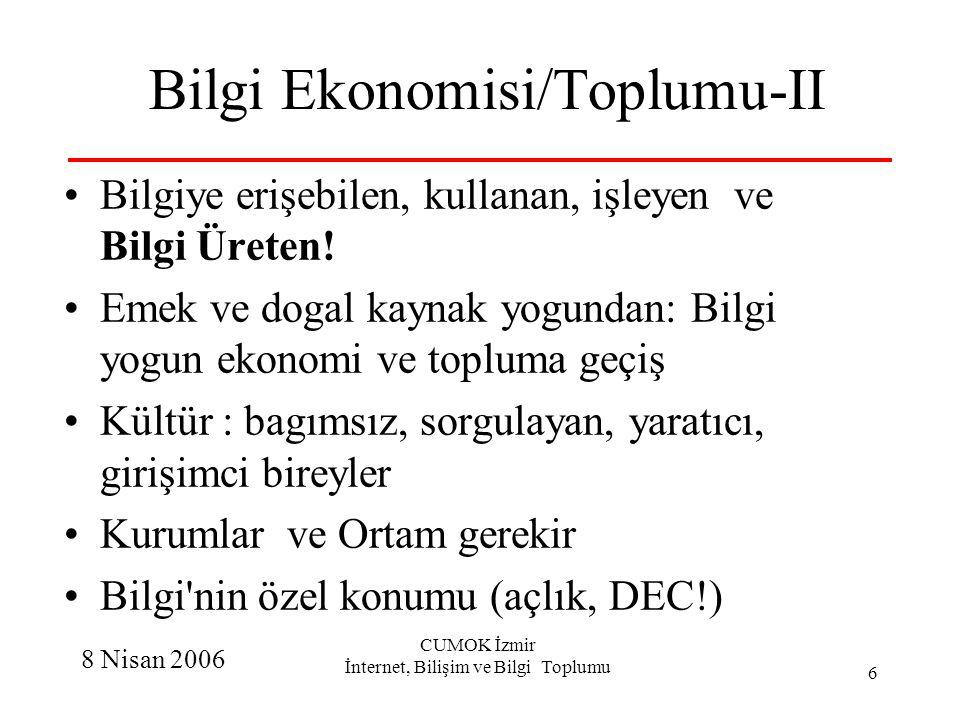 8 Nisan 2006 CUMOK İzmir İnternet, Bilişim ve Bilgi Toplumu 6 Bilgi Ekonomisi/Toplumu-II Bilgiye erişebilen, kullanan, işleyen ve Bilgi Üreten! Emek v