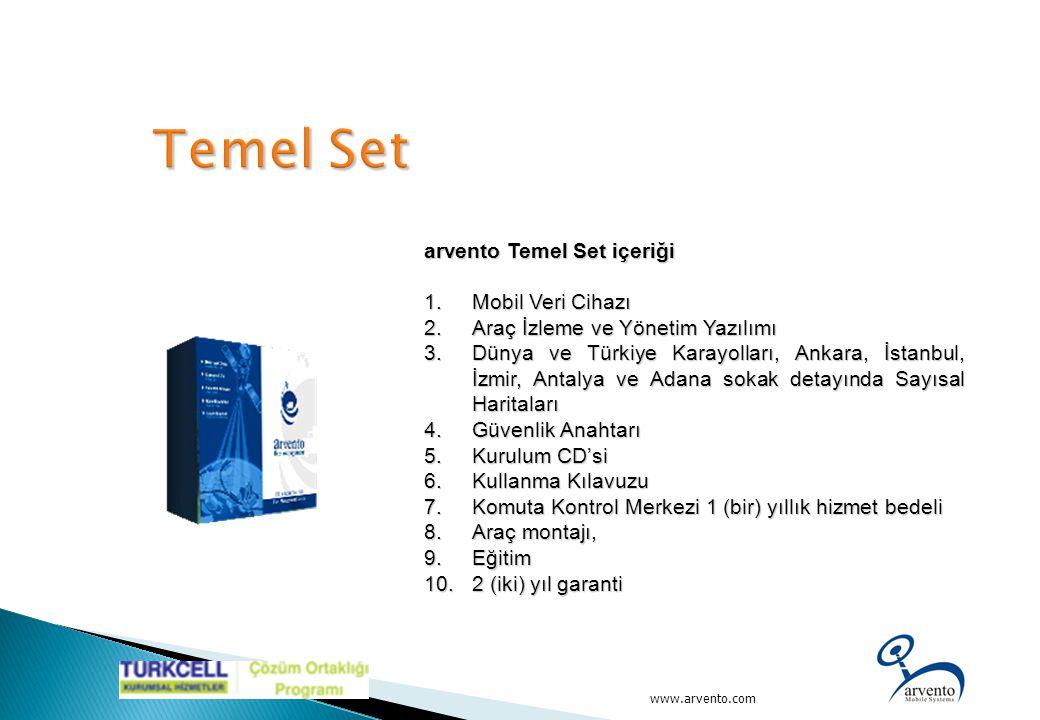 arvento Temel Set içeriği 1.Mobil Veri Cihazı 2.Araç İzleme ve Yönetim Yazılımı 3.Dünya ve Türkiye Karayolları, Ankara, İstanbul, İzmir, Antalya ve Ad