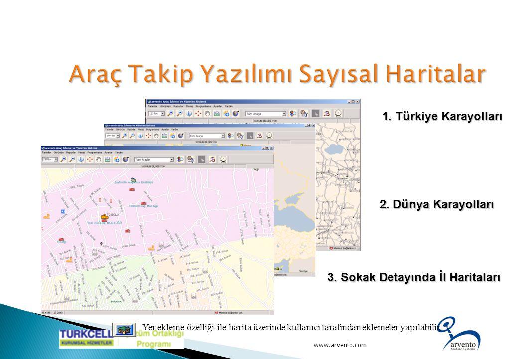 1. Türkiye Karayolları www.arvento.com 2. Dünya Karayolları 2. Dünya Karayolları 3. Sokak Detayında İl Haritaları Yer ekleme özelliği ile harita üzeri
