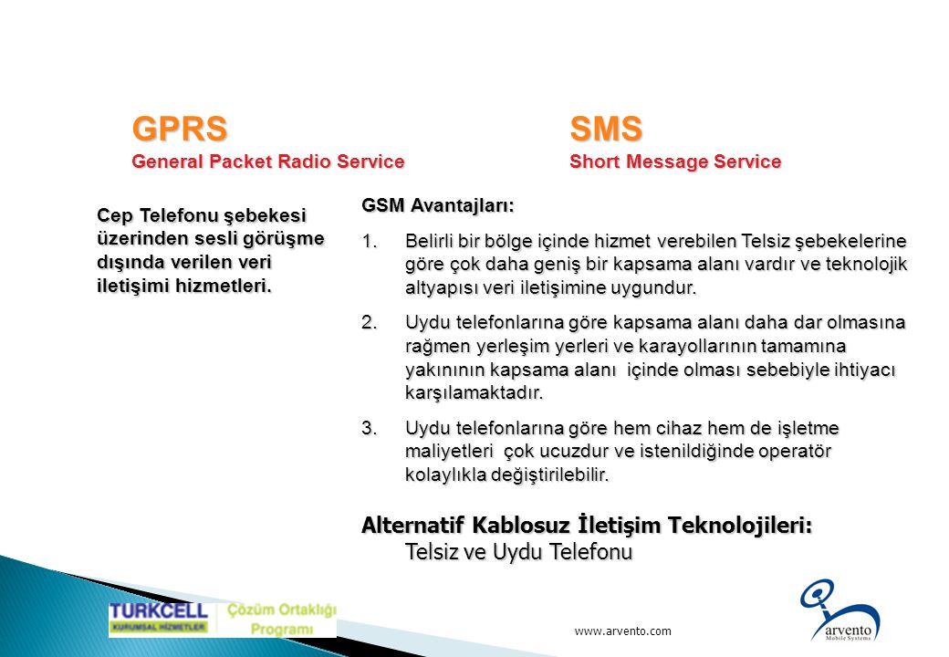 www.arvento.com GSM Avantajları: 1.Belirli bir bölge içinde hizmet verebilen Telsiz şebekelerine göre çok daha geniş bir kapsama alanı vardır ve tekno