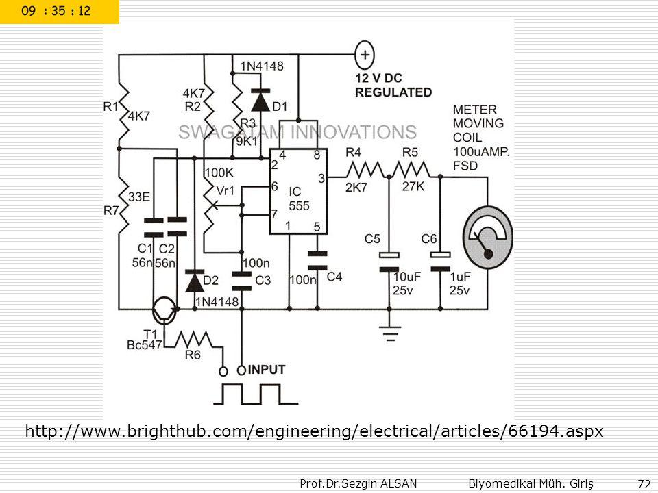 Prof.Dr.Sezgin ALSAN Biyomedikal Müh. Giriş 72 http://www.brighthub.com/engineering/electrical/articles/66194.aspx