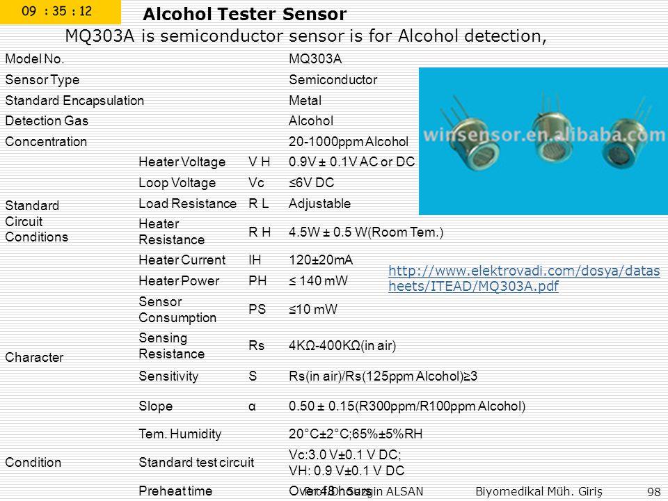 Prof.Dr.Sezgin ALSAN Biyomedikal Müh. Giriş 98 Alcohol Tester Sensor MQ303A is semiconductor sensor is for Alcohol detection, Model No.MQ303A Sensor T