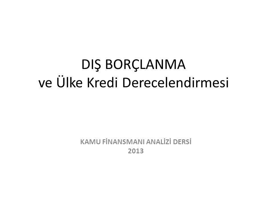 DIŞ BORÇLANMA ve Ülke Kredi Derecelendirmesi KAMU FİNANSMANI ANALİZİ DERSİ 2013