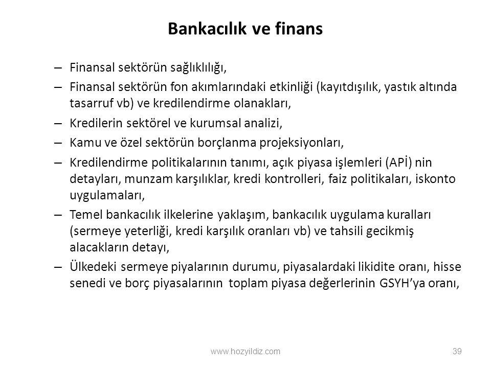 Bankacılık ve finans – Finansal sektörün sağlıklılığı, – Finansal sektörün fon akımlarındaki etkinliği (kayıtdışılık, yastık altında tasarruf vb) ve kredilendirme olanakları, – Kredilerin sektörel ve kurumsal analizi, – Kamu ve özel sektörün borçlanma projeksiyonları, – Kredilendirme politikalarının tanımı, açık piyasa işlemleri (APİ) nin detayları, munzam karşılıklar, kredi kontrolleri, faiz politikaları, iskonto uygulamaları, – Temel bankacılık ilkelerine yaklaşım, bankacılık uygulama kuralları (sermeye yeterliği, kredi karşılık oranları vb) ve tahsili gecikmiş alacakların detayı, – Ülkedeki sermeye piyalarının durumu, piyasalardaki likidite oranı, hisse senedi ve borç piyasalarının toplam piyasa değerlerinin GSYH'ya oranı, www.hozyildiz.com39